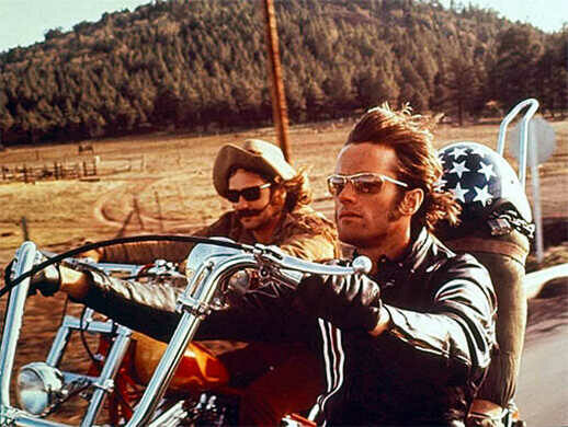 Dennis Hopper and Peter Fonda on the road in 'Easy Rider.'