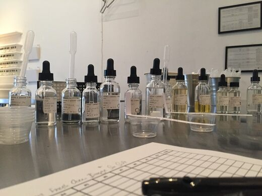 Blending scents at the IAO.
