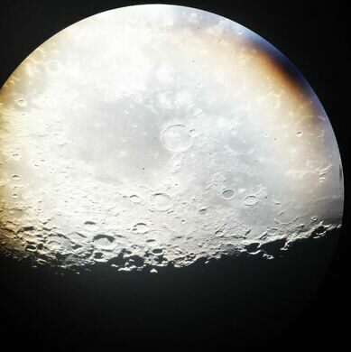 The moon shot with an iPhone through the 60-inch telescope.