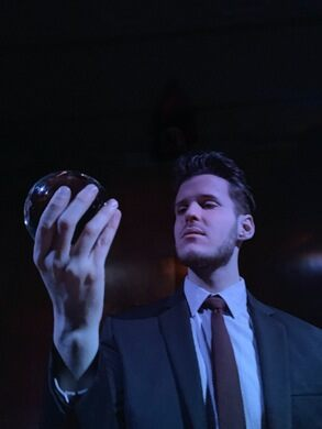 Mentalist Jacob Mayfield gazes into his crystal ball.