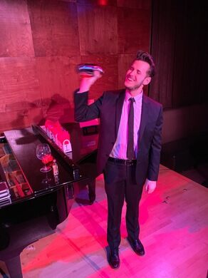 Jacob Mayfield with his cocktail shaker illusion.