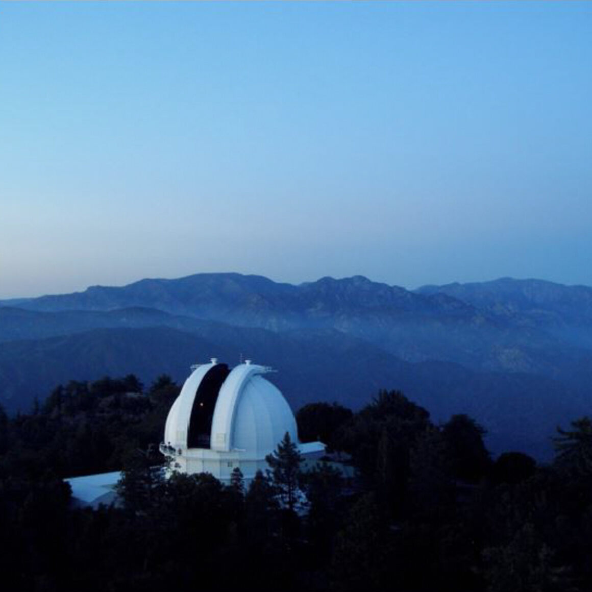 View of the telescope from the 150-foot Solar Tower.
