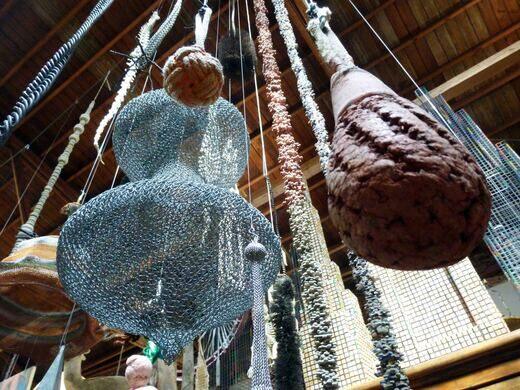 Hanging sculptures.