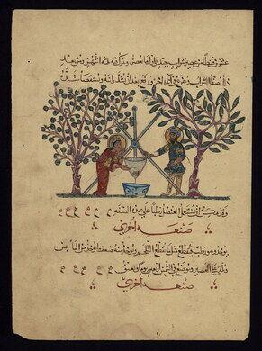 Two 13th-century doctors preparing medicine.