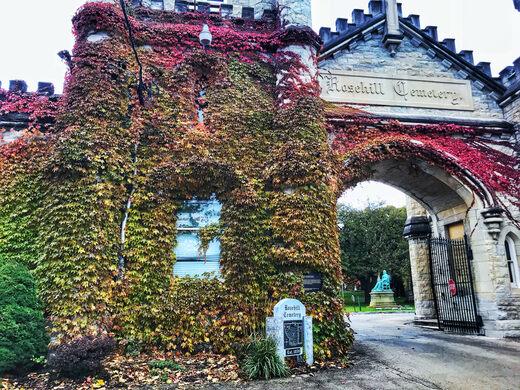 The historic gates designed by William W. Boyington.