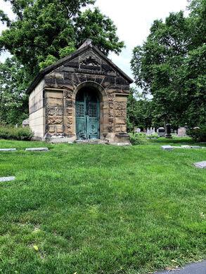 Distant mausoleums.