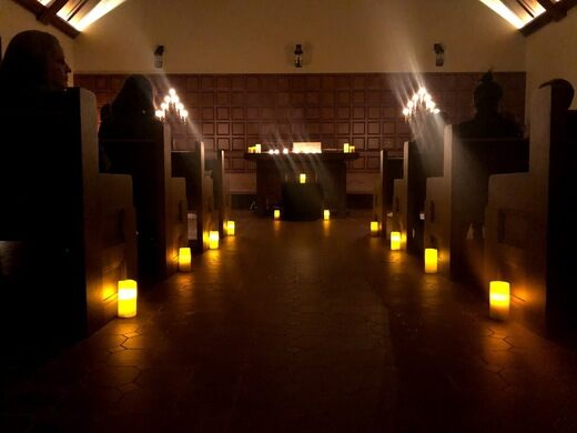 Inside the chapel at night.