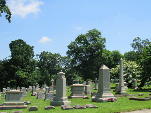 Tombstones from West Laurel Hill Cemetery.
