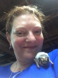 Deborah Hammer with a friendly Hoary Bat.