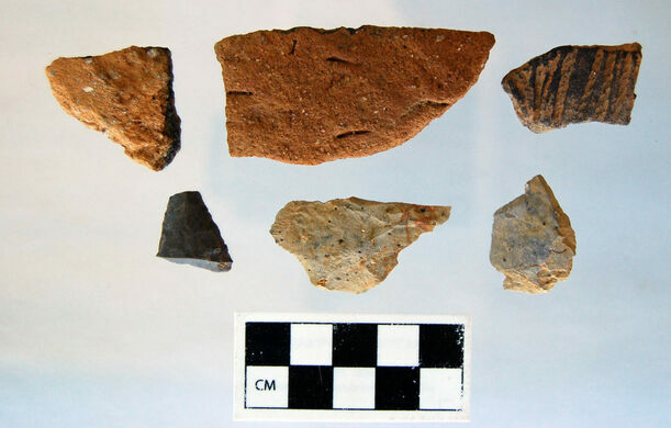 Prehistoric pottery shards and prehistoric lithics, ranging from 500 to 3,000 years of age.