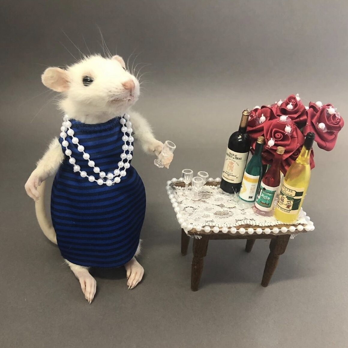 Cocktail party mouse taxidermy workshop.