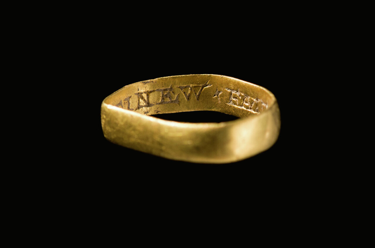 A 17th-century gold posy ring, a postmedieval version of a promise ring, was determined to be treasure at an inquest in October 2019.