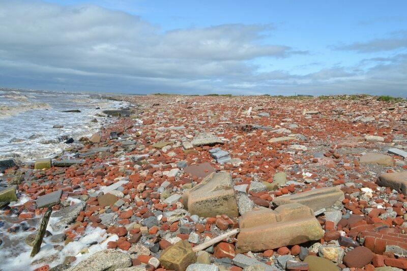 The Blitz remains at Crosby Beach extend over more than a mile of coastline.
