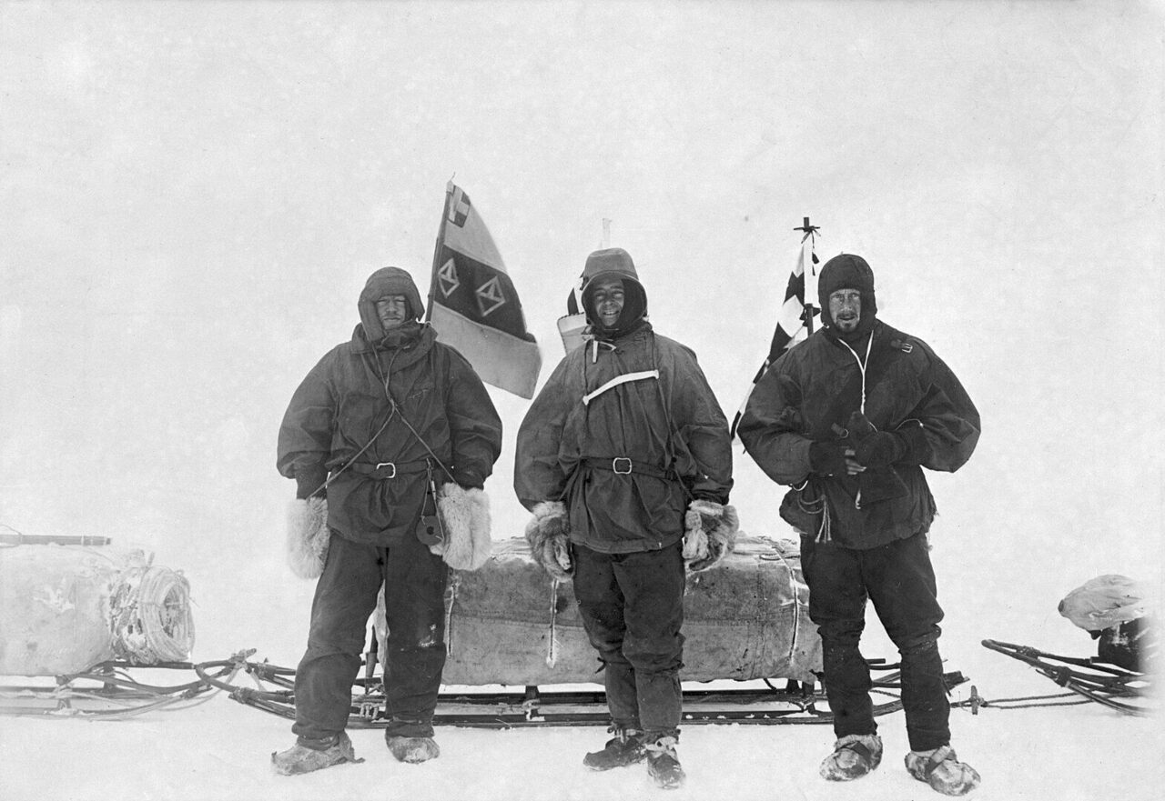 Ernest Shackleton, Captain Robert Falcon Scott, and Edward Wilson (right to left) as they were preparing to explore the Ross Ice Shelf as part of the British National Antarctic Expedition in November 1902.