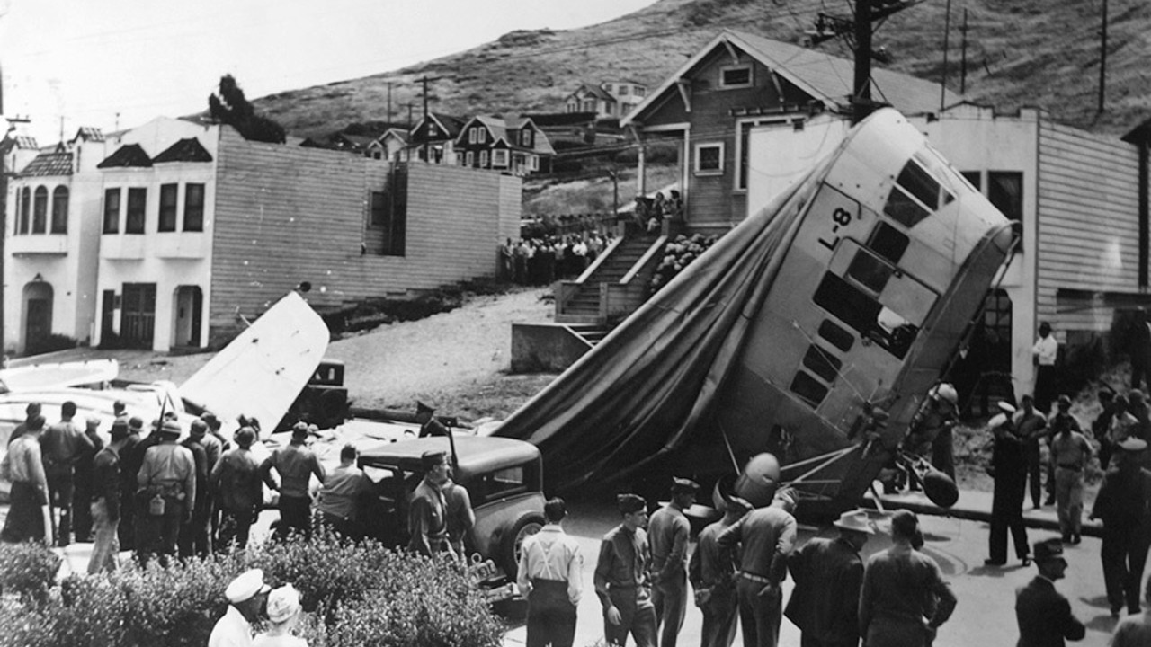 The blimp crash of August 16, 1942, in Daly City California.