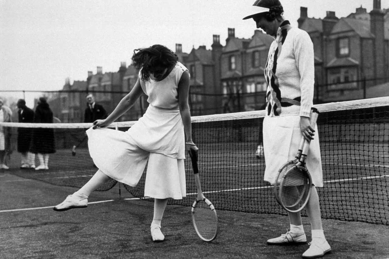 Spanish tennis player Lili de Alvarez shows off her divided skirt at the North London Tennis Tournament in Highbury, London.
