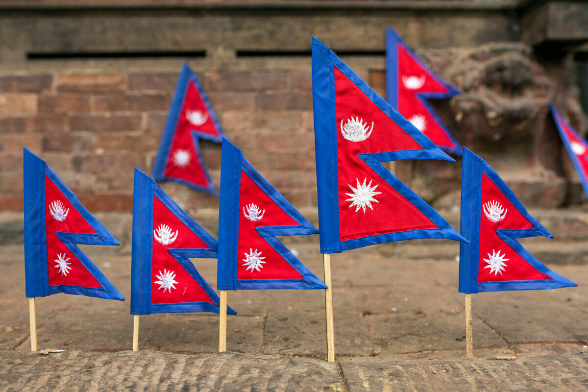 Flags for sale in Kathmandu, Nepal.