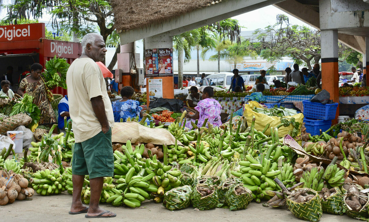 Bananas are still a staple of Vanuatu residents' diets. These are for sale at a busy market in Port Vila.
