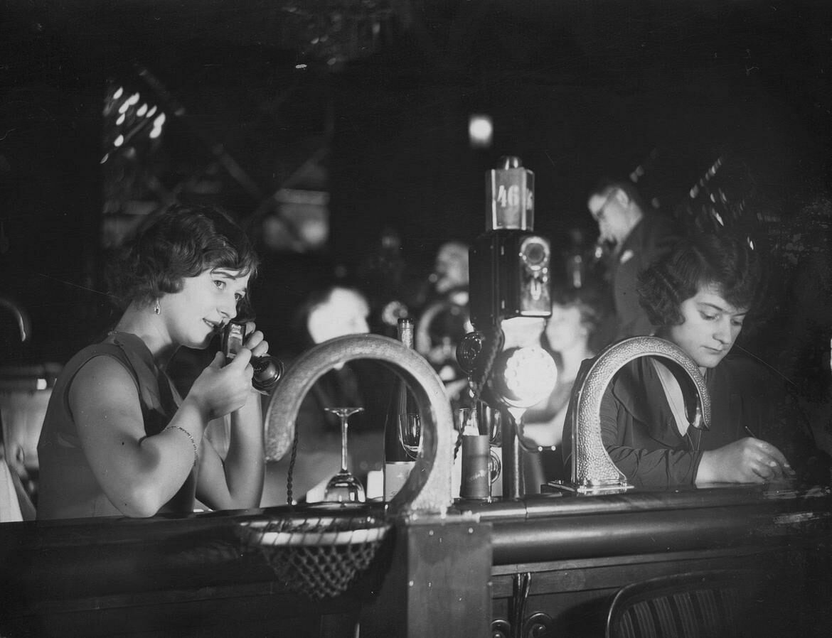 Flirting in the Resi, 1930—peep the pneumatic tubes!