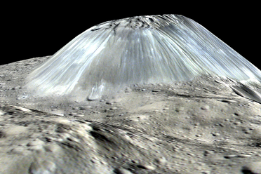 A simulated perspective of Ahuna Mons, based on images taken from Dawn in 2016, at an altitude of 240 miles.