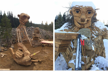 The Danish artist Thomas Dambo came to Breckenridge to build <em>Isak Heartstone</em> in August 2018 (left); In one of <em>Isak</em>'s last days, coated with snow, he poses with a pair of skis (right).