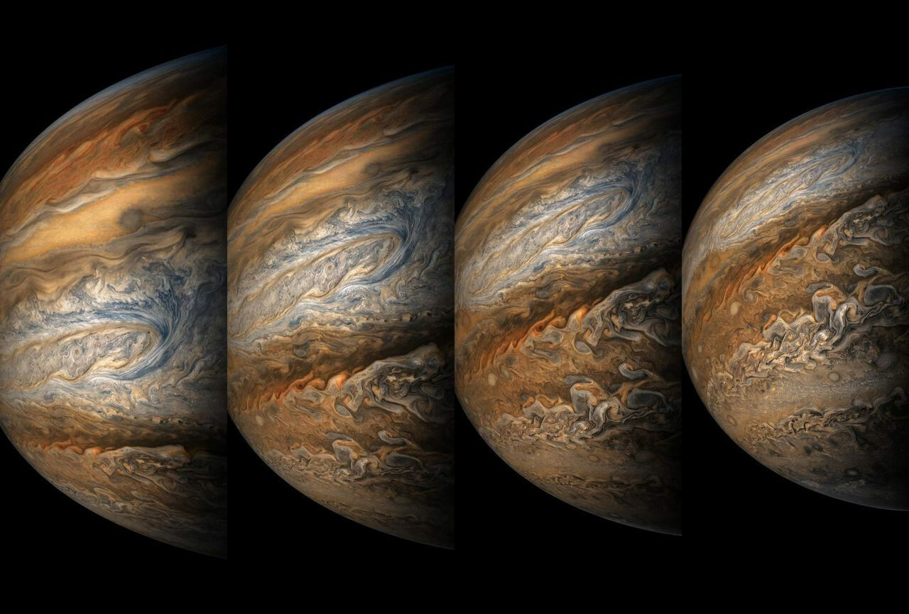 A series of color-enhanced images of Jupiter, taken by NASA's <em>Juno</em> spacecraft, September.