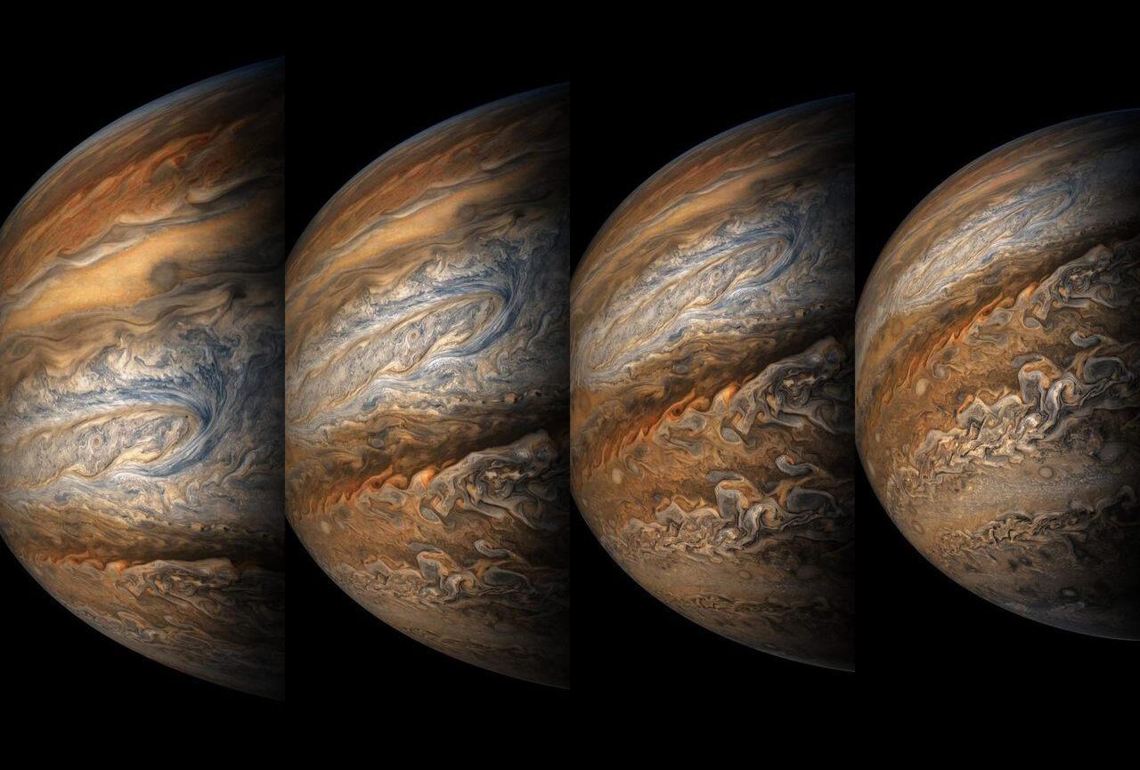 A series of color-enhanced images of Jupiter, taken by NASA's <em>Juno</em> spacecraft, September.