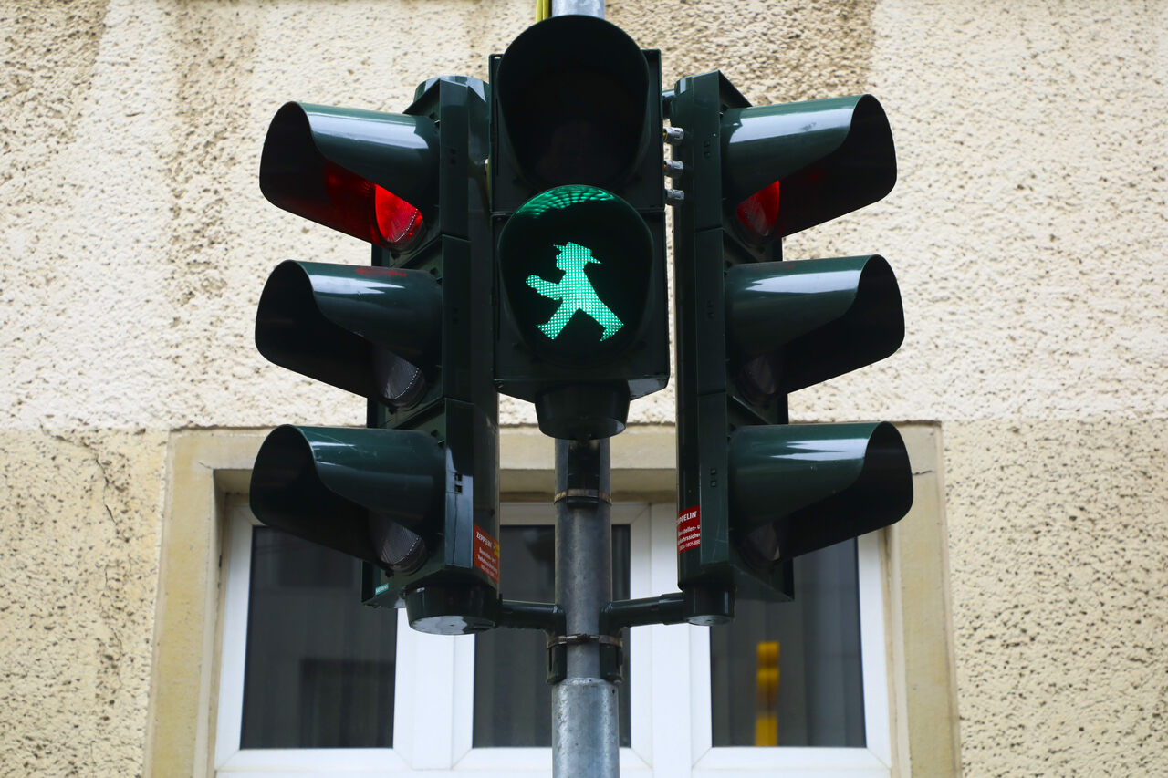 """The original Ampelmännchen became so popular   in East Germany by the 1980s that an animated version of the """"little street crossing man"""" was used to teach children traffic safety."""