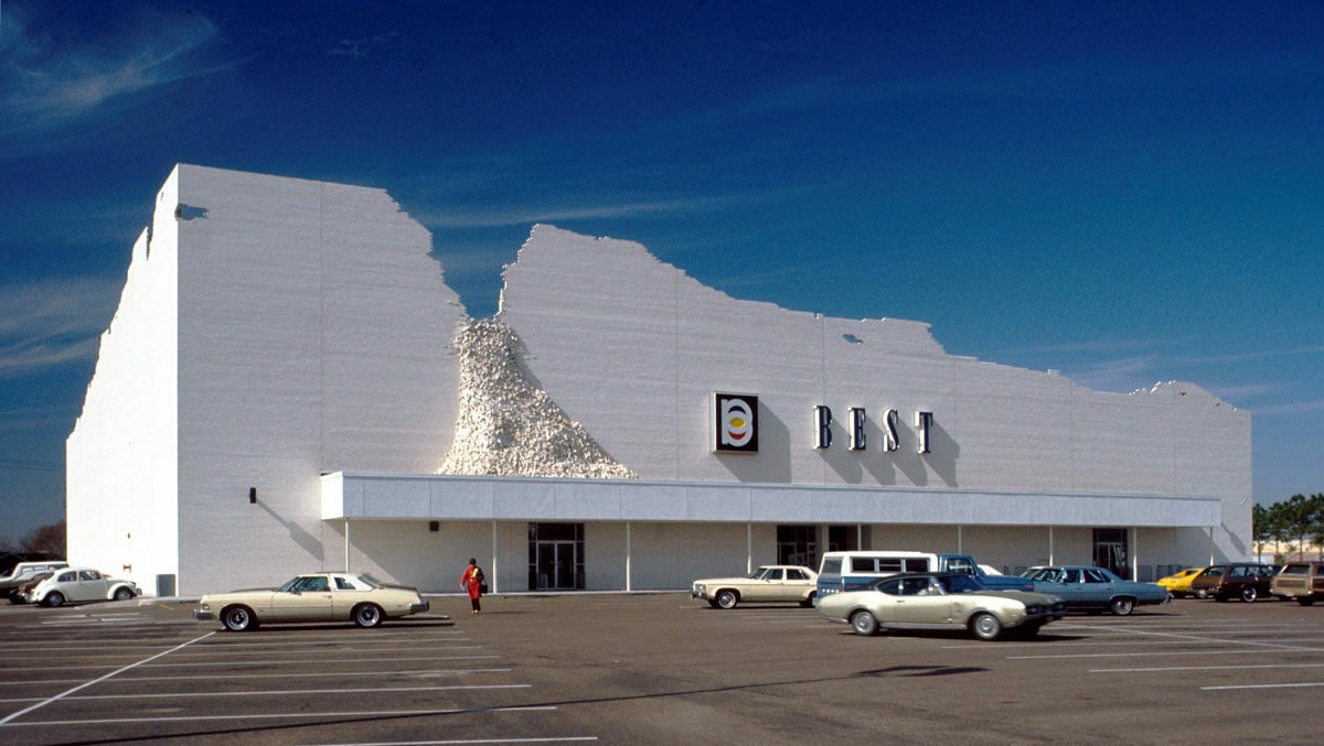 "One of SITE's striking retail creations, the ""Indeterminate Facade,"" in Houston, Texas, around 1975."