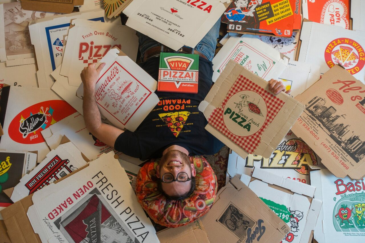 People send Scott Wiener pizza boxes from around the world for preservation.