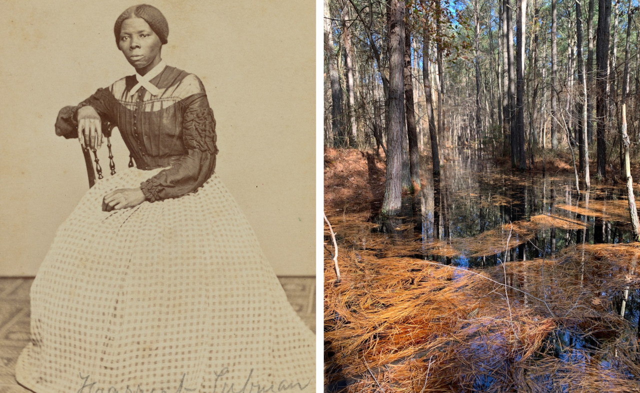 Tubman, photographed here in the late 1860s (left), knew the land well, and used that knowledge to help guide dozens of people out of slavery through the Eastern Shore (right).