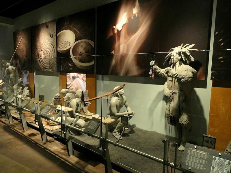 A display of Native American artifacts at the Indiana State Museum.