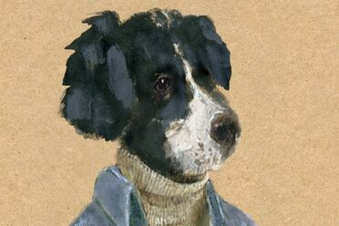 John Cerasulo's painting of a dog in a sweater.