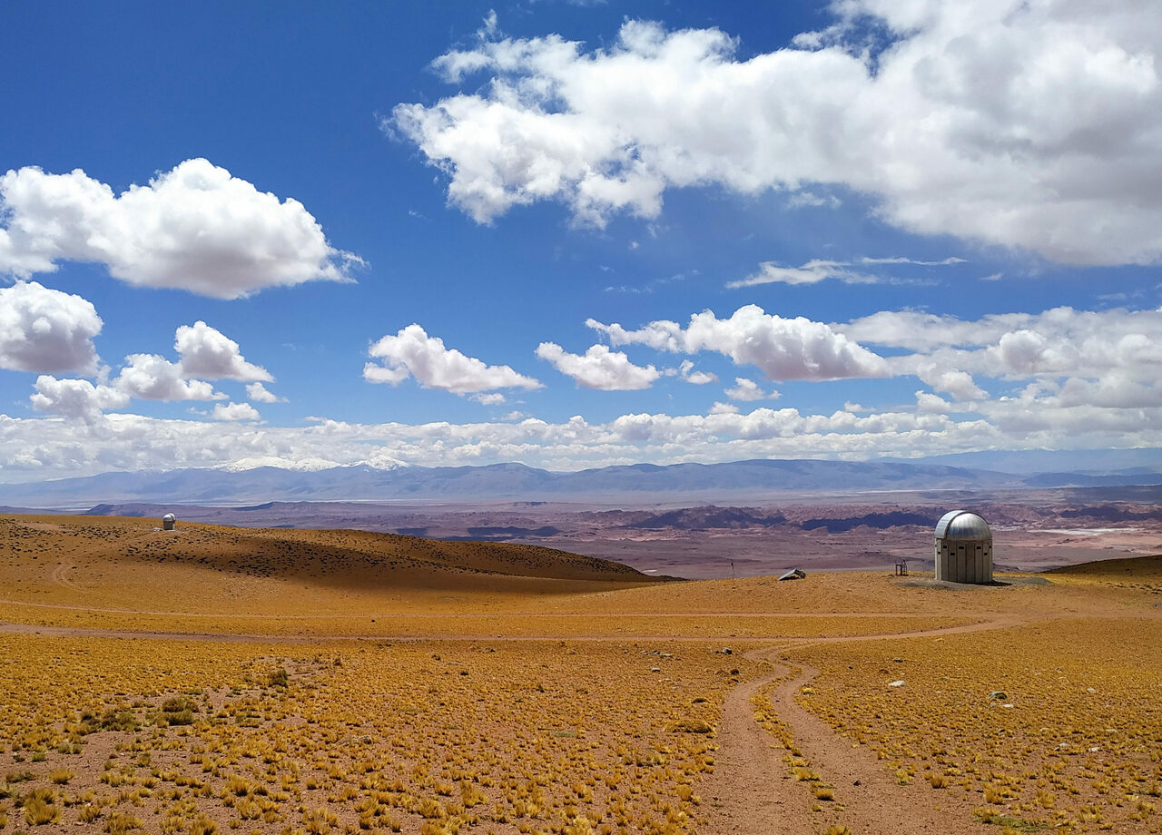 The snow-capped Andes, on the far western horizon, seen from the remote Centro Astronómico Macón site in Argentina.