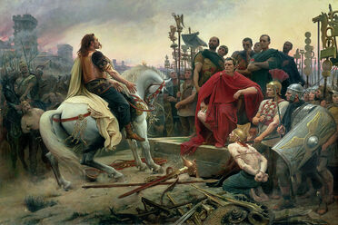 Gaulish chief Vercingetorix, wearing trousers, surrenders to Julius Caesar after the battle of Alesia in 52 B.C. (Lionel-Noël Royer, 1899).