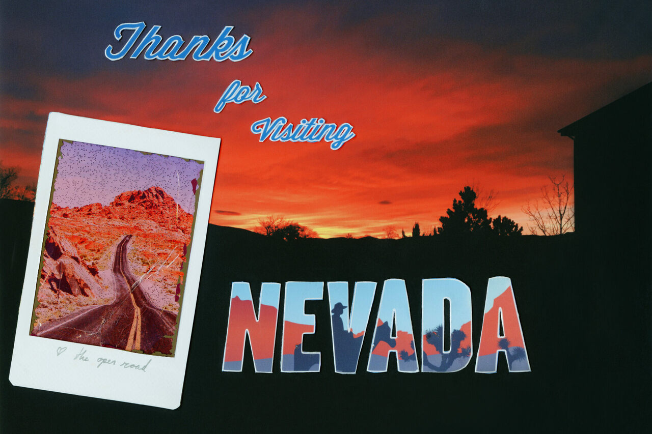 <em>Thanks for Visiting</em> by Francesca Berrini and Lindsey Rickert combines imagery of a sunset over Fernley, a polaroid found at <em>Seven Magic Mountains</em>, and pictures of signage outside Rhyolite to create an old-fashioned post card in homage to the Silver State.
