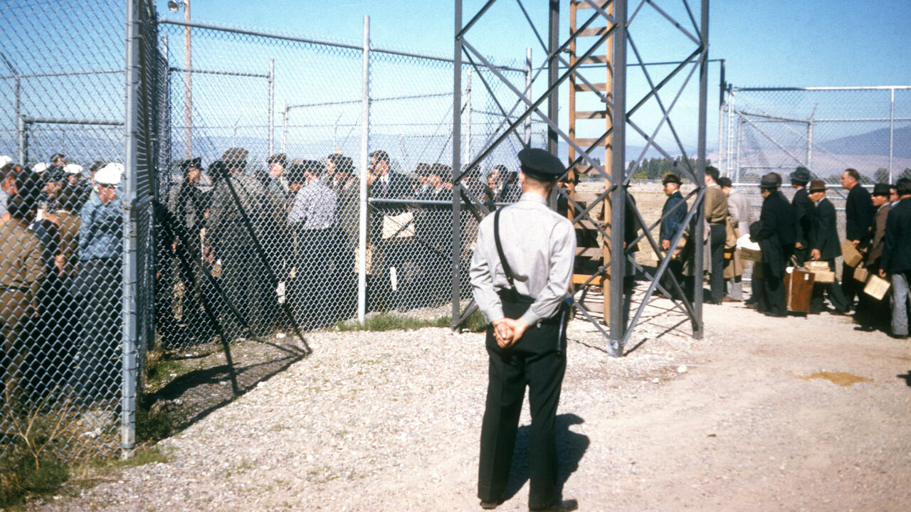 Interned Italians enter Fort Missoula in 1941.