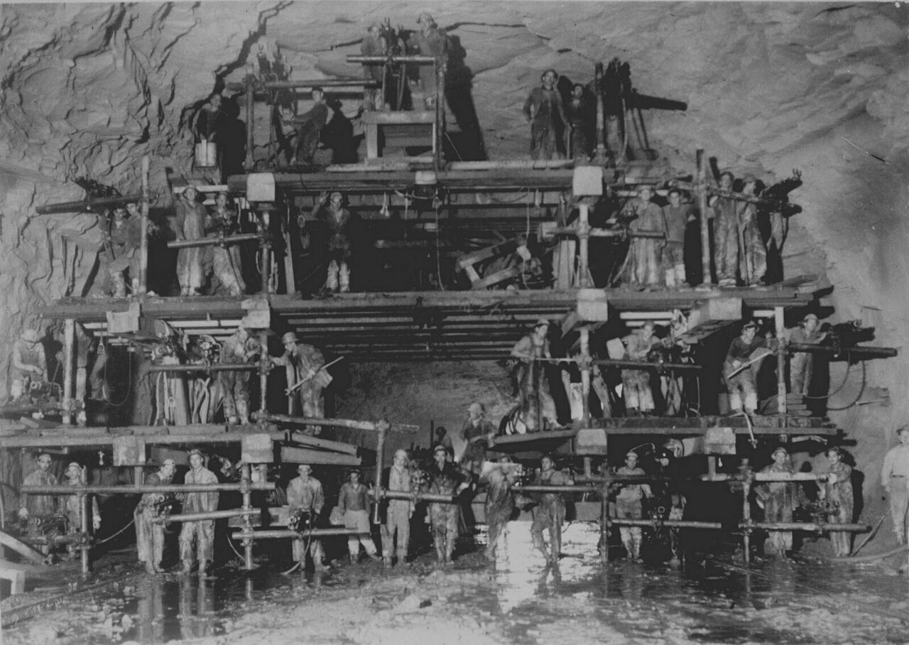 The Pepacton Reservoir diversion tunnel drill crew, photographed on September 29, 1948.