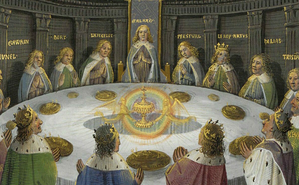 Depiction of King Arthur's knights seeing a vision of the Holy Grailgathered at the Round Table.