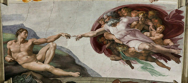 Michelangelo's depiction of the creation of Adam in the Sistine Chapel.