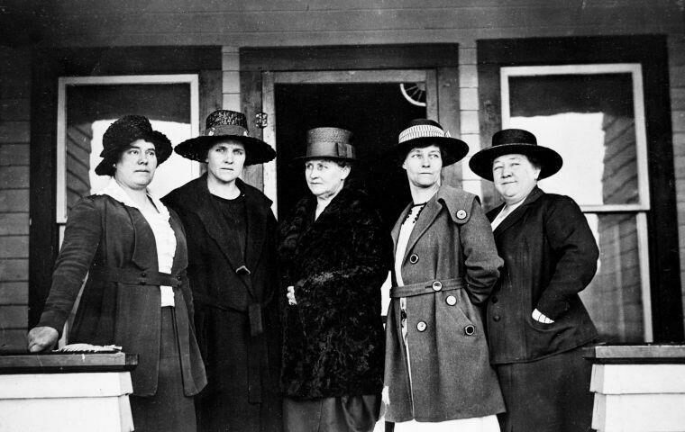 "Meet the Jackson Town Council of 1920-23, aka the ""petticoat rulers"": (from left) Mae Deloney, Rose Crabtree, Mayor Grace Miller, Faustina Haight, Genevieve Van Vleck."