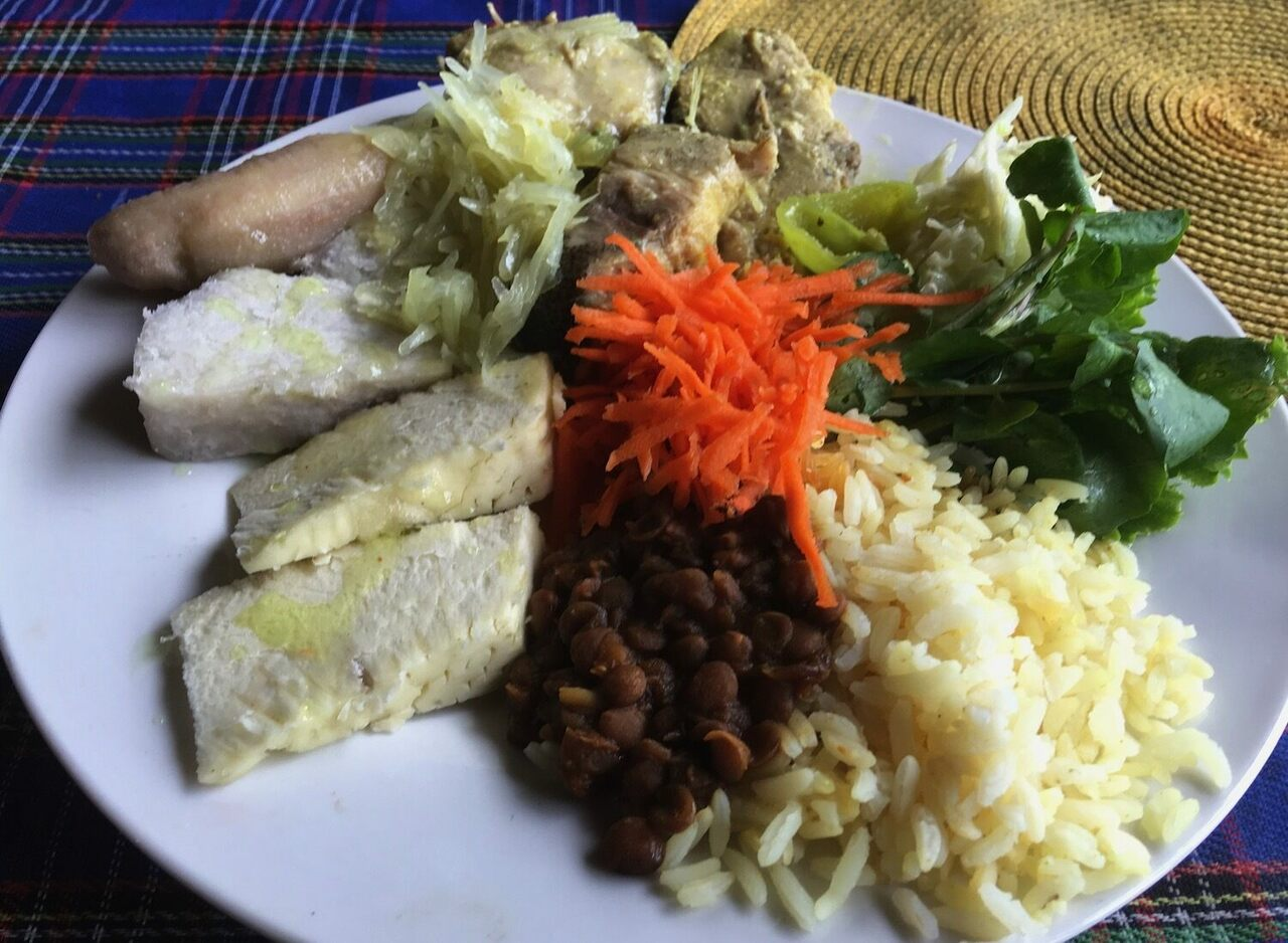 A traditional meal of fish and provisions (tubers and vegetables) served on the Caribbean island of Dominica.