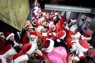 Santas on the subway 2008