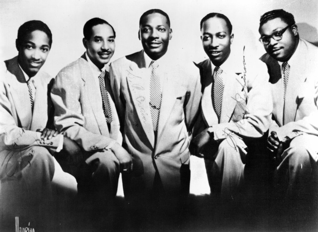 The Soul Stirrers, Sam Cooke (left), JJ Farley, SR Crain, RB Robinson, and Paul Foster (right), in 1950. (Photo by Gilles Petard/Redferns)