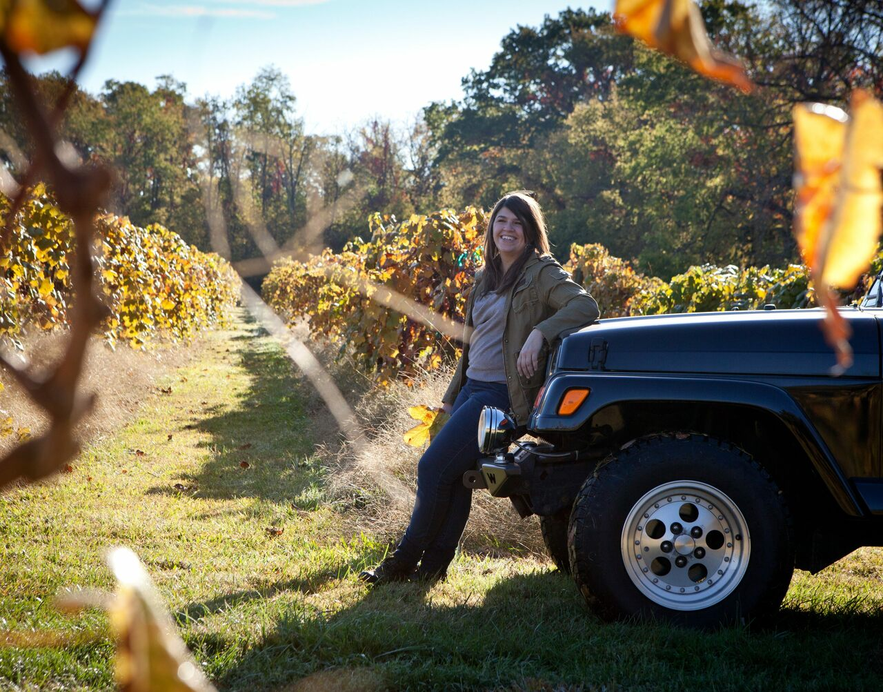 Kate MacDonald in a midwestern vineyard.