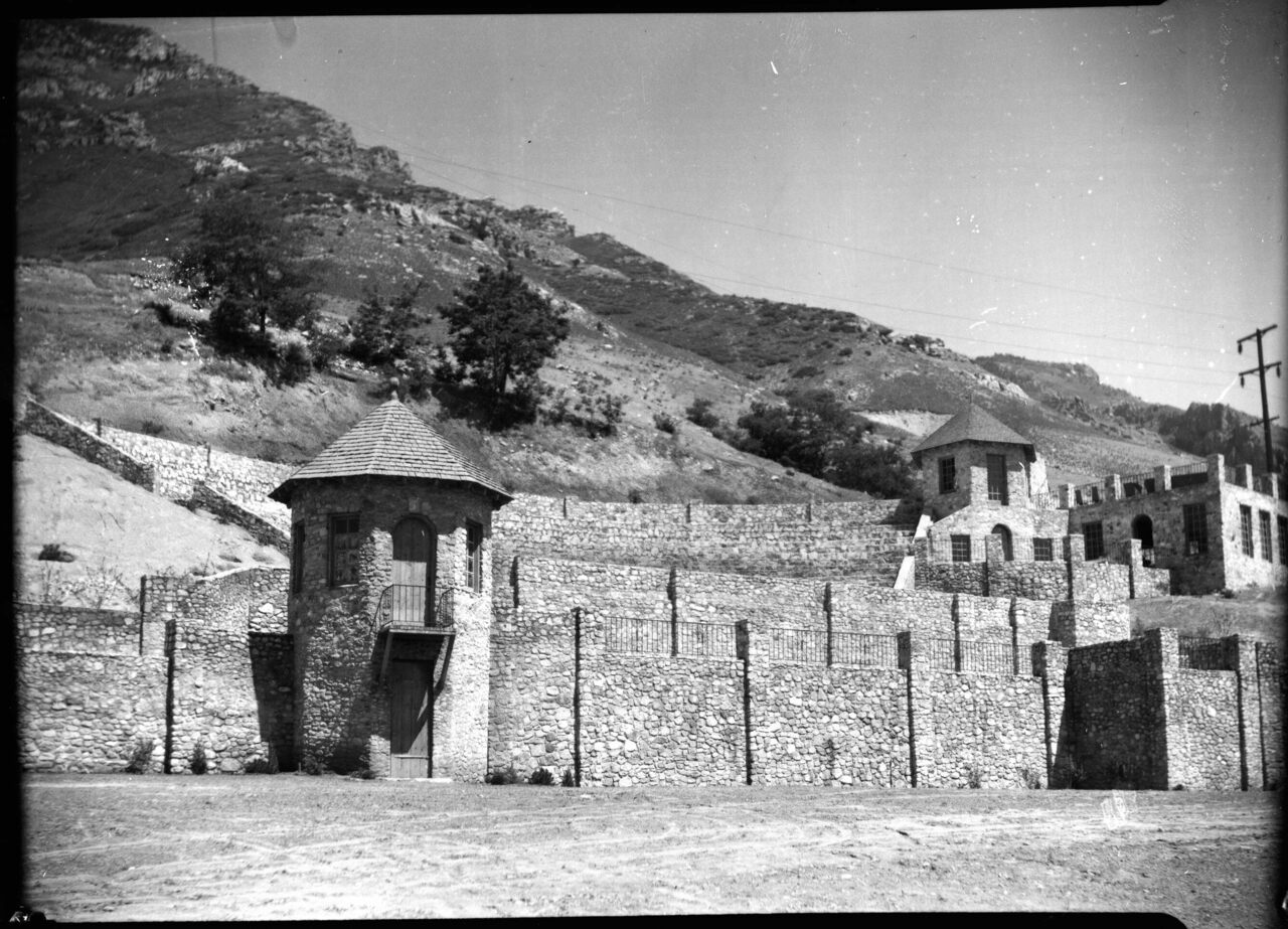 """The Castle Amphitheater, the recreation area of Utah State Hospital and location of the """"Haunted Castle"""", pictured here in 1938."""
