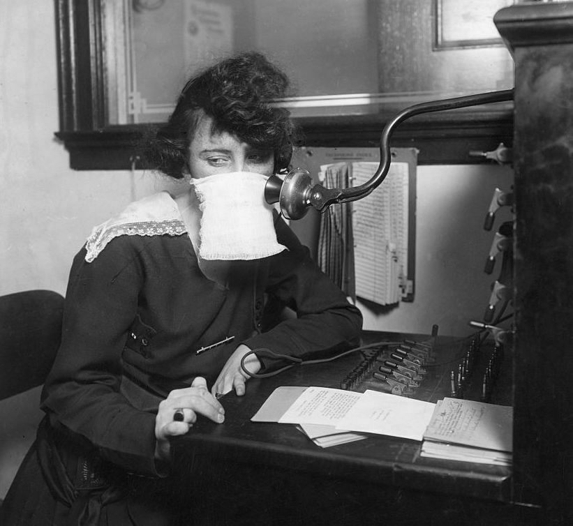 During the flu outbreak of 1918, phone operators took precautions—and many companies asked people to stay off the line.