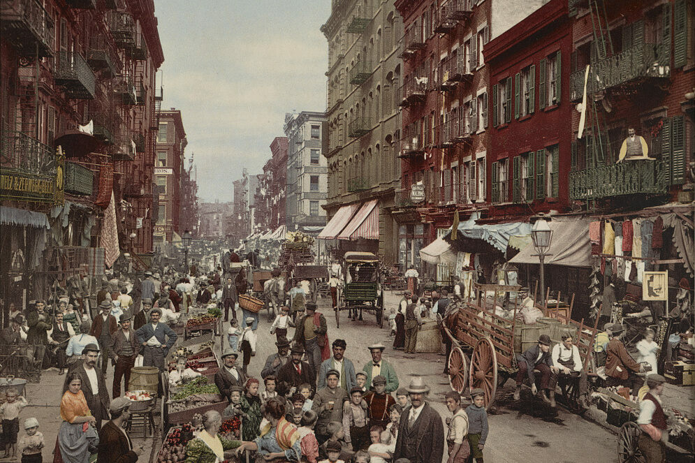 Mulberry Street, where New York's Little Italy is centered, c. 1900.