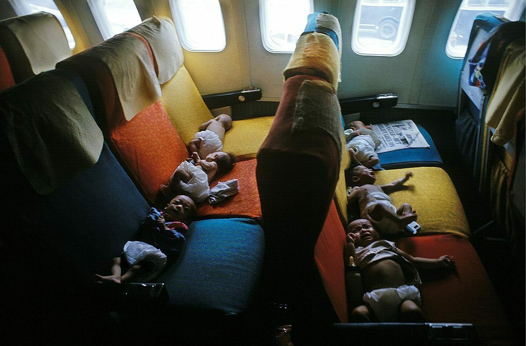 "Babies from South Vietnam on a flight to the U.S. during ""Operation Babylift"".  (Photo: Jean-Claude Francolon/Gamma-Rapho/Getty Images)"