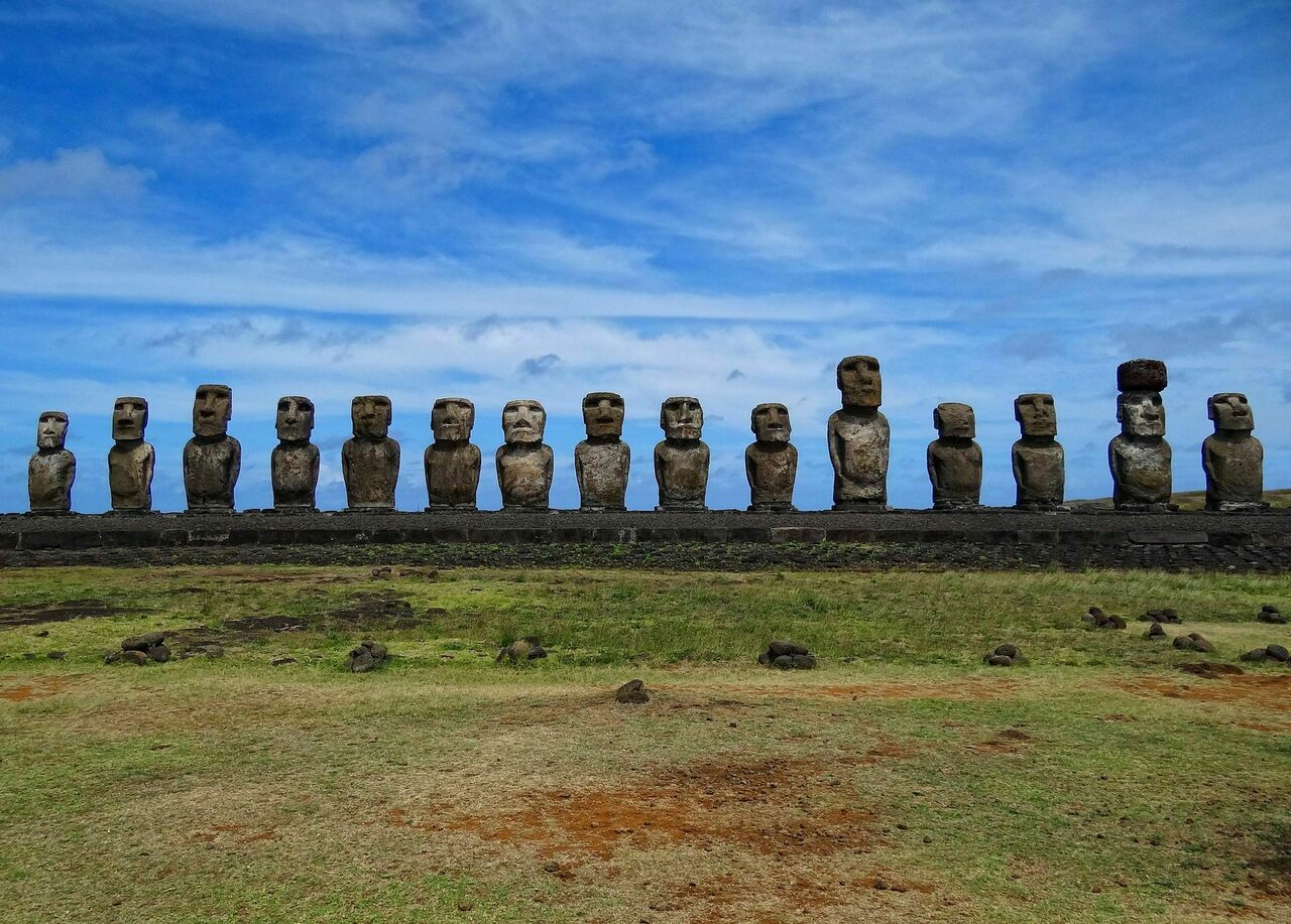 A row of stone monoliths, or moai, on Ahu Tongariki in Rapa Nui.